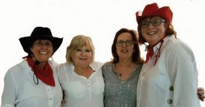Cowgals Gill Cole, Candy Bliss, Carole Kaye and Barbara Kliner dressed for the part